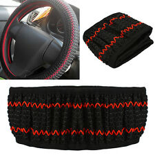 Red Black DIY 38CM Elastic Ice Silk Car Steering Wheel Cover Sets Decoration