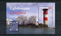 Nevis 2015 MNH Lighthouses England Europhilex 1v S/S Needles Lighthouse Stamps