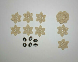 15 Pc Crochet Ecru Flowers Vintage Cotton Thread and Victorian Cameo Buttons