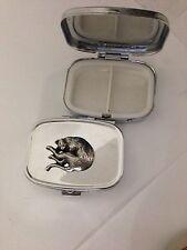 Stretching Cat R202 English Pewter Emblem on a Rectangular Travel Metal Pill Box
