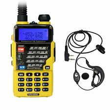 Baofeng UV-5RE Yellow Dual Band UHF/VHF Ham FM 2 Way Radio + UV-5R E Earpiece US