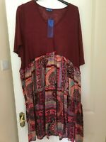Aster by Firmiana ladies tunic top plus size 2X UK 18/20 burgundy pattern
