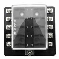 10 Way Blade Fuse Holder Box LED Indicator 12V Circuit Caravan Truck Car Marine