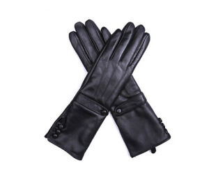women mid long winter buttons real sheep leather gloves