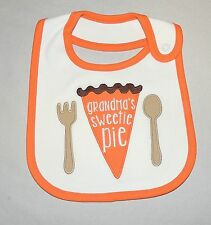 New Unisex Baby Carter's First Thanksgiving Bib Grandma's Sweetie Pie Holiday