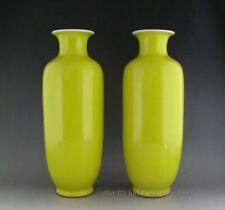 Pair of Perfect Chinese Monochrome Lemon Yellow Glaze Porcelain Vases.Mark