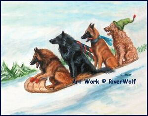 Belgian Shepherd Sheepdog Tervuren Malinois Dog Xmas Limited Edition Art Print