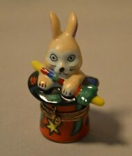 Vintage Limoges French Figural Trinket Box - Rabbit in Magician's Hat