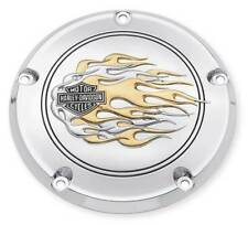 HARLEY  CHROME DERBY COVER FLAMES TOURING SOFTAIL DYNA 1999-2014