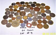 World Coins Lot #9 Lot of 60 different world coins 10.6 oz. As Pictured