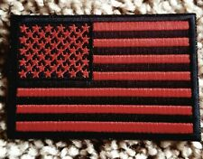 Red & Black American Flag Of The U.S.A. Embroidered Patch Reflector Thread