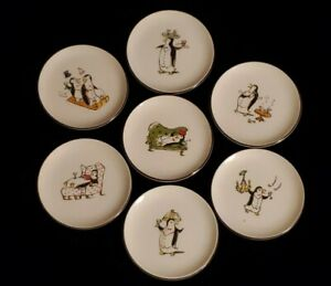 "Pottery Barn Penguins Porcelain 4"" Appetizer Dessert Plates/Coasters Set of 7"