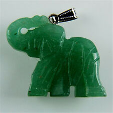 Charming Carved Elephant Aventurine Pendant Bead M-DJM130