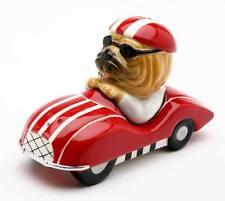 41017 Shar-Pei Dog Race Car Driver Salt Pepper Shaker Set Kitchen Sport Driving