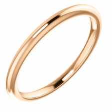 Simple Classy 2mm 14K Solid Straight Pink Rose Gold Wedding Band- Match Anything