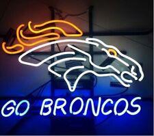 "New Denver Broncos Go Neon Light Sign 17""x14"" Real Glass Bar Beer Arcade"