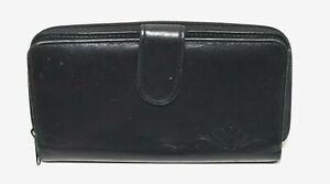 Buxton Velvet Touch Black Leather Fan Embossed Flower Organizer Checkbook Wallet