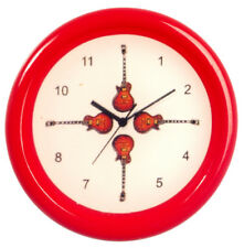 Small Red Guitar Wall Clock, Dolls House Miniature Ornamental accessories 1/12