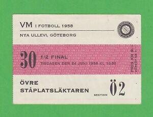 1958 FIFA World Cup ticket #30 1/2 Finals Sweden vs West Germany June 24th