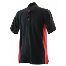 Finden & Hales Sports Cotton Polo Shirt Black / Red Large  - LV322