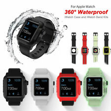 40/44/42mm Silicone Waterproof iWatch Band Strap Case Cover fr Apple Watch 4 3 2