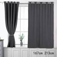 "66x84""Blackout Thermal Eyelet Ring Home Door Curtain  Single Panel Tieback"