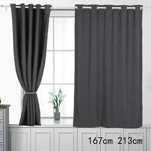 Thick Thermal Blackout Door Curtains Eyelet Ring Top Ready Made Single Panel