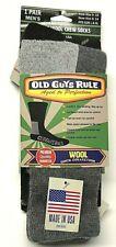 2 or 4 Pair Men's Gray OLD GUYS RULE Merino Wool Thermal Crew Sock Size9-15,USA