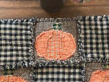 Plaid PriMiTivE Rag Table Runner Harvest Fall Orange Pumpkin Black Halloween