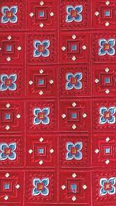 W. H. Belk Blue Red Floral 100% Silk Tie T2361