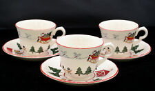 Masons Mason's Christmas Village * 3 CUPS & 3 SAUCERS * England, EXC!