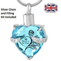 Always in my Heart Jewellery Cremation Urn Pendant Ashes Necklace Memorial UK