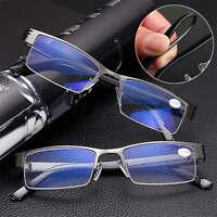 High quality Mens Half frame Style Blue Film Anti-radiation Reading glasses HS