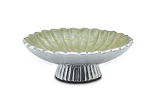 "Julia Knight Peony Pedestal Bowl, 8"" Kiwi, Green Sand Hand Cast Aluminum NEW"