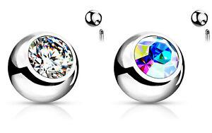 Piercing Ersatzkugel Chirurgenstahl Silber Kristall Weiß o Aurora 4mm, 5mm 1St