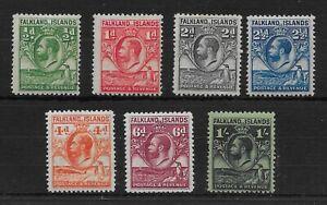 FALKLAND ISLANDS SG116/22 1929-32 WHALES & PENGUINS SET TO 1/= MTD MINT