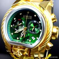 Invicta Reserve Bolt Zeus Magnum 52mm Gold Plated Dual Green Dials Watch New