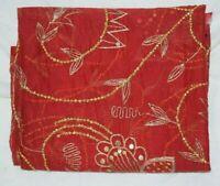Vintage Dupatta Long Stole Chiffon Silk Red Veil Hand Beaded Boder Tie & Dy
