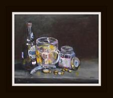 """Beer and Nuts : Original Oil Painting by William Jamison 10"""" X 8"""""""