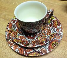 WADE Orange Paisley Chintz China Footed Cup Saucer Salad Plate Heath England