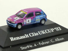 Renault Clio UK Cup '93, Start-Nr. 4 in lila/blau, PC-Vitrine, OVP, Herpa, 1:87