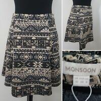 Ladies MONSOON Aztec Skirt Sz 10 A-Line Ethnic Boho Festival Nordic Grey Gold