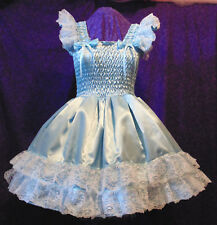 Sundress Satin Blue Lolita Sissy Adult Baby Aunt D