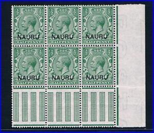 Nauru 1916 - ½d Blk/6 all w/double Ovprt, 1 Albino - SC 1v [SG 1b] MNH - RARE 21