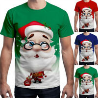 Unisex Womens Mens Christmas 3D Santa Claus T-Shirt Xmas Short Sleeve Blouse Top