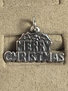James Avery MERRY CHRISTMAS Charm 925 Sterling Silver Made USA Pendant Or Charm