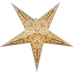 Papierstern Weihnachtsstern Leuchtstern LED Stern Lichterkette Blaze gold beige