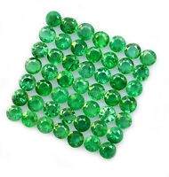 Natural Emerald 2 MM Round Cut Green Loose Faceted Brazilian Gemstone Lot