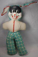 Unusual Rare Early 1940s Plastic Face Bugs Bunny Stuffed Plush Doll