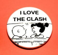 I LOVE THE CLASH SNOOPY PEANUTS INSPIRED BUTTON PIN BADGE
